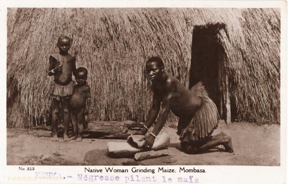 Native Woman Grinding Maize. Mombasa