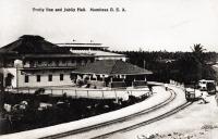 Trolly line and Jubilee Hall. Mombasa. B.E.A.