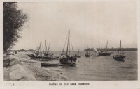 Dhows in old Arab harbour