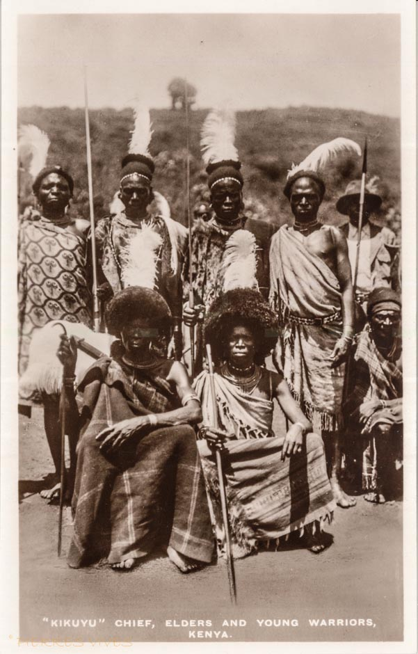 """Kikuyu"" Chief, elders and young warriors. Kenya"