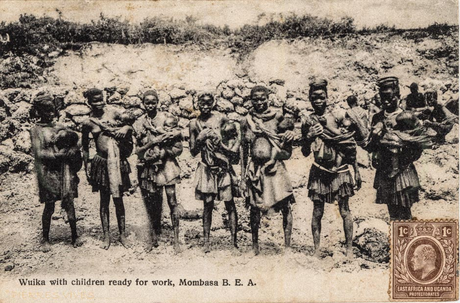 Waika with children ready for work. Mombasa B.E.A.