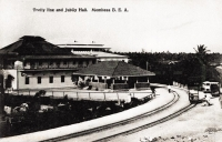 Trolly line and Jubilee Hall. Mombasa. B.E.A.