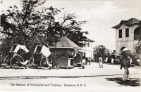 The Station for Rickshaws and Trollees. Mombasa. B.E.A.