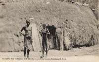 A native boy suffering from small-pox and his house. Mombasa B.E.A.