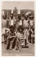 """Kikuyu"" Chief, elders and young warriors. Kenya"