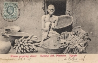 Woman preparing Dinner. National dish, Plantains. Uganda