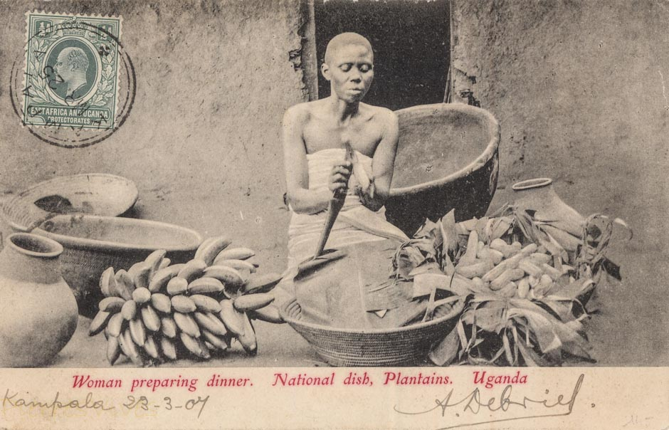 Woman preparing Dinner. National dish, Plantains. Uganda