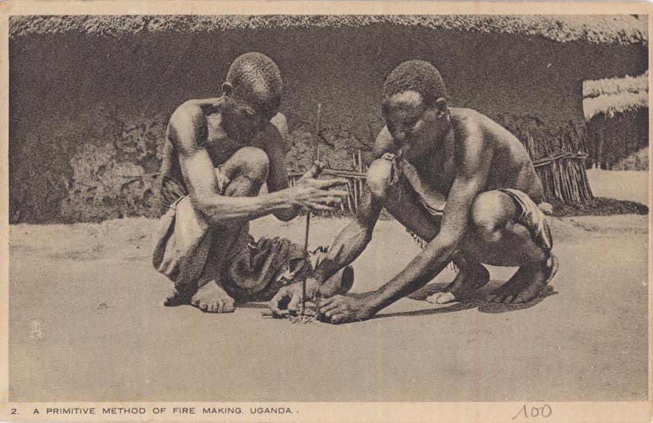 A Primitive Method of Fire making. Uganda
