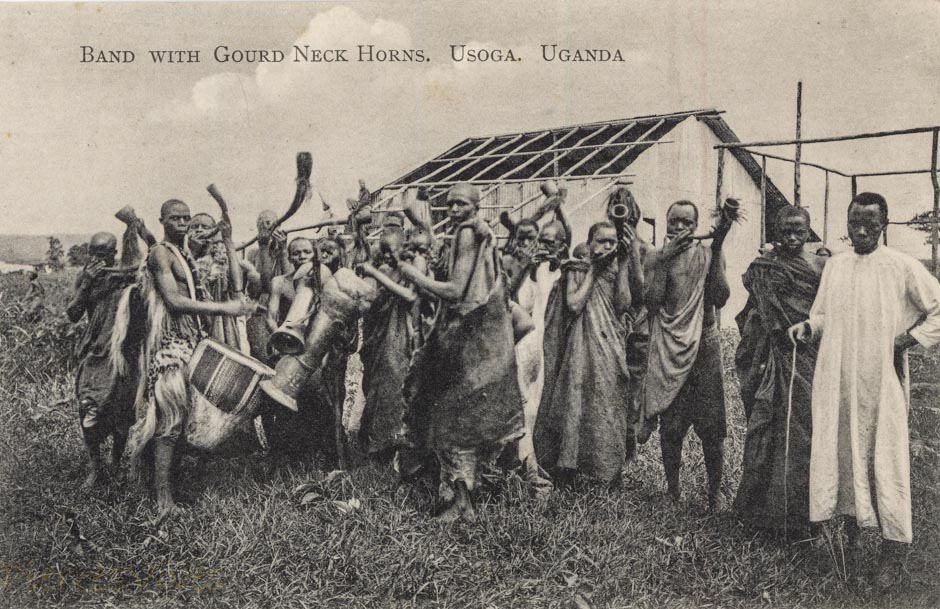 Band with Gourd Neck Horns. Usoga. Uganda