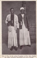 Two of the Earliest Evangelists to Toro from Uganda. Rev. Apolo Kivebulaya (bareheaded) and Petero Nsubaga