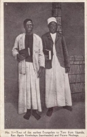 Two of the Earliest Evangelists to Toro from Uganda. Rev. Apolo Kivebulaya (bareheaded) and Petero Nsubaga
