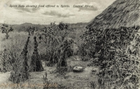 Spirit huts showing food offered to Spirits. Central Africa