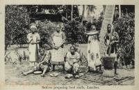 Natives preparing food stuffs