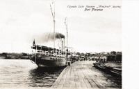 "Uganda Lake steamer ""Winifred"" leaving Port Florence"
