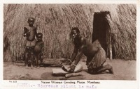 Native Woman Grinding Maize. Mombasa