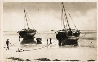 Dhows on the beach, Mombasa (B.E.A.)