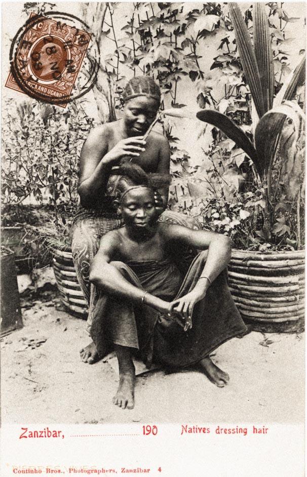 Natives dressing hair