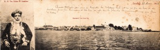H.H. The Sultan of Zanzibar + Panoramic view from sea